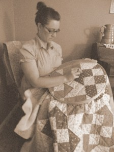 The young-old woman quilting